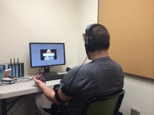 Participants watch videos while heart rate, skin conductance, and muscle activity of the jaw are monitored.